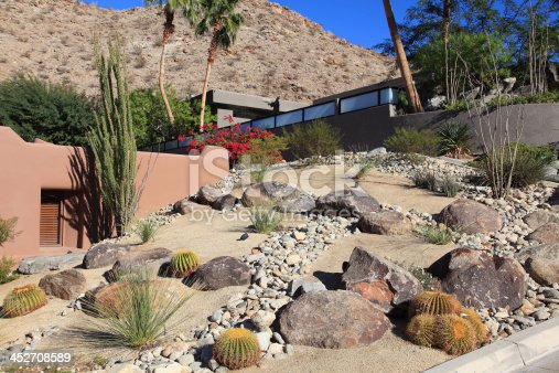 Landscaping with cactus,sand,large rocks,stones,and succulents. Featuring a dry river bed with stones falling down slope.