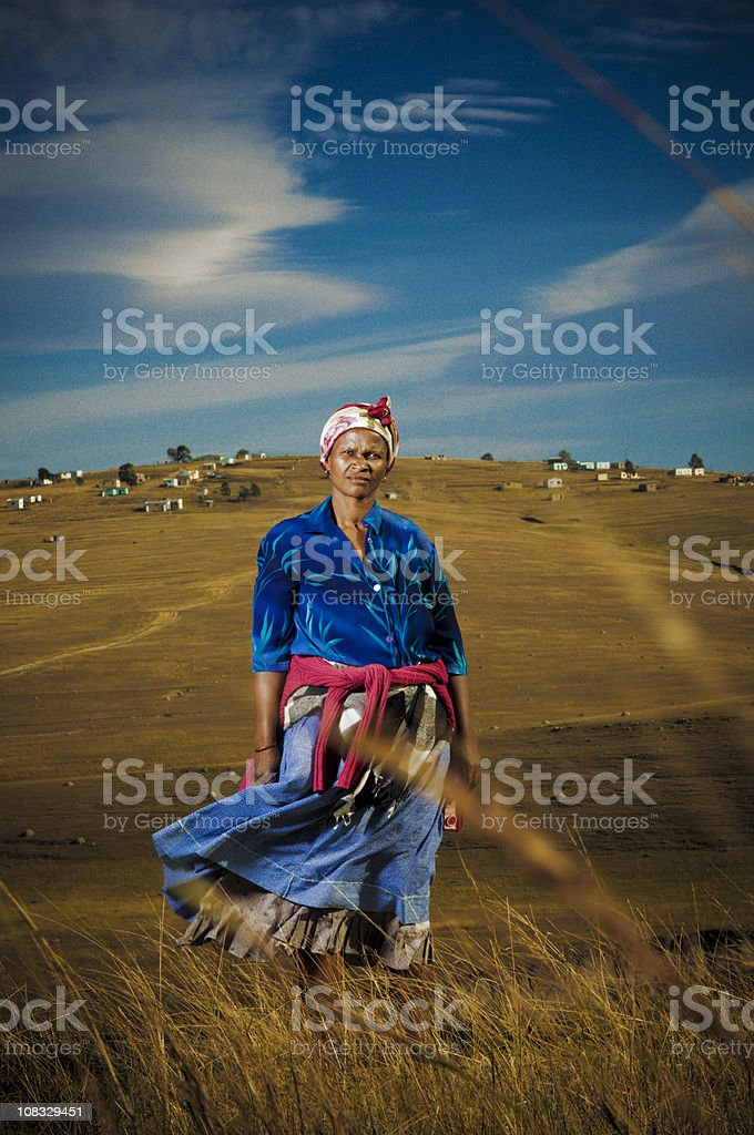 Xhosa woman in rural area stock photo