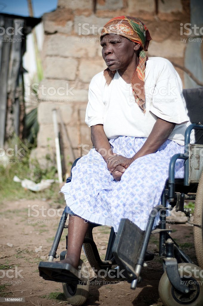 Xhosa woman in wheelchair royalty-free stock photo