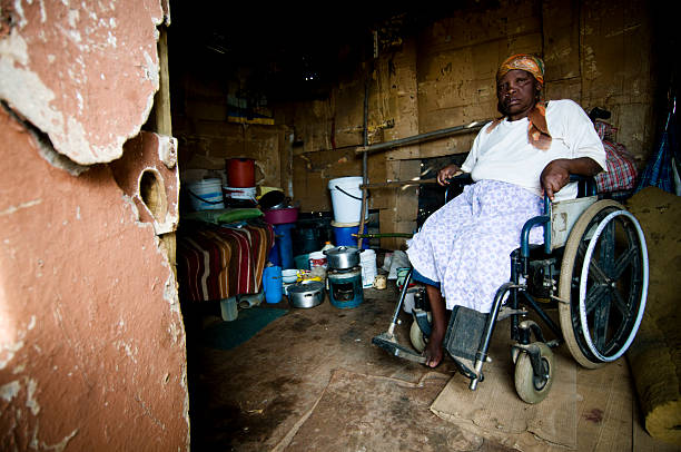Xhosa woman inside shelter stock photo
