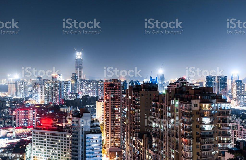 Xiamen Cityscape Night stock photo