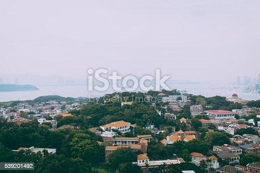 Elevated view of Xiamen Gulangyu cityscape taken in Sunlight Cliff of Gulangyu Island.