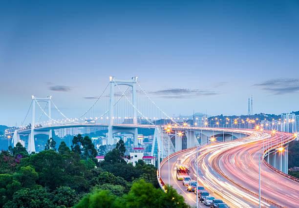 Industrie- und Gewerbezone xiamen haicang-Brücke bei Nacht – Foto