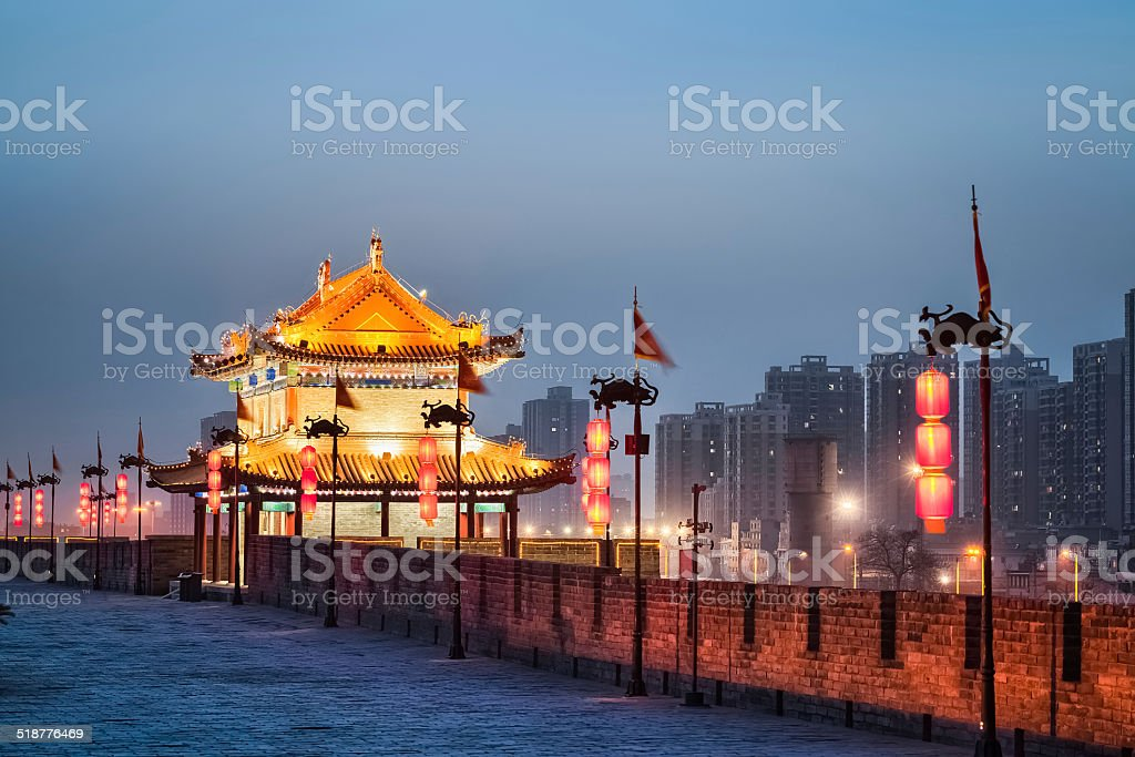xian ancient tower in nightfall stock photo