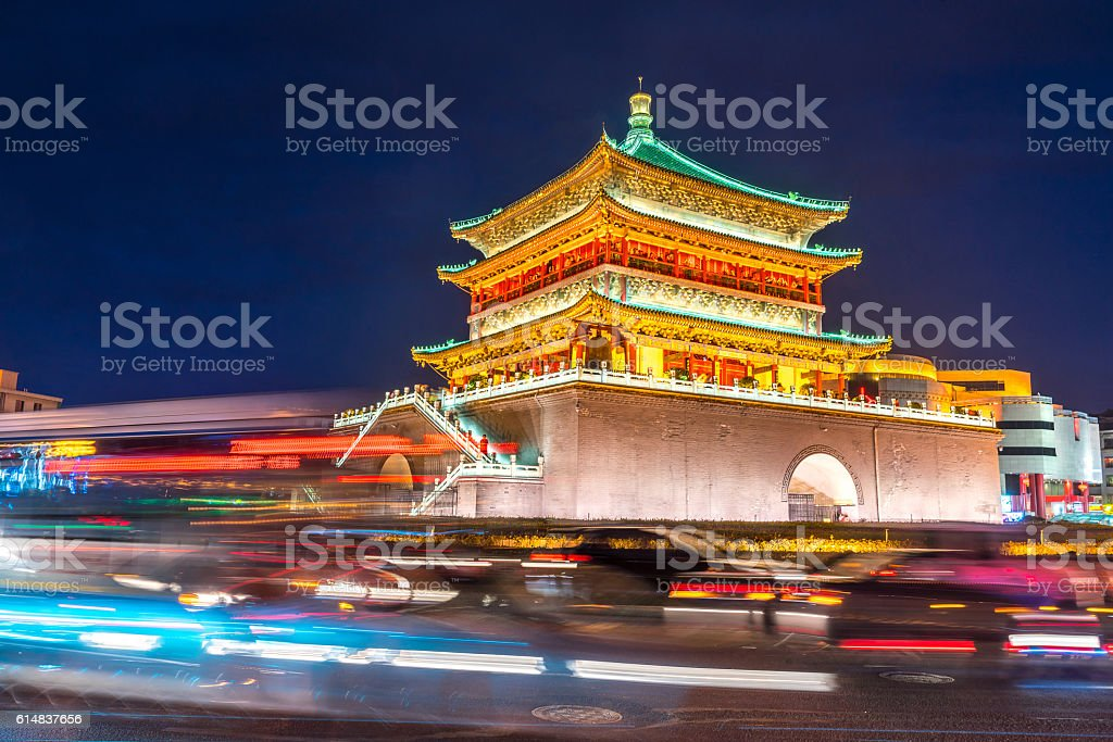 Xian bell tower stock photo