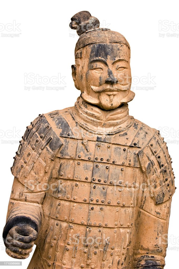 Xian China: Terracotta Warrior Statue Isolated on White royalty-free stock photo