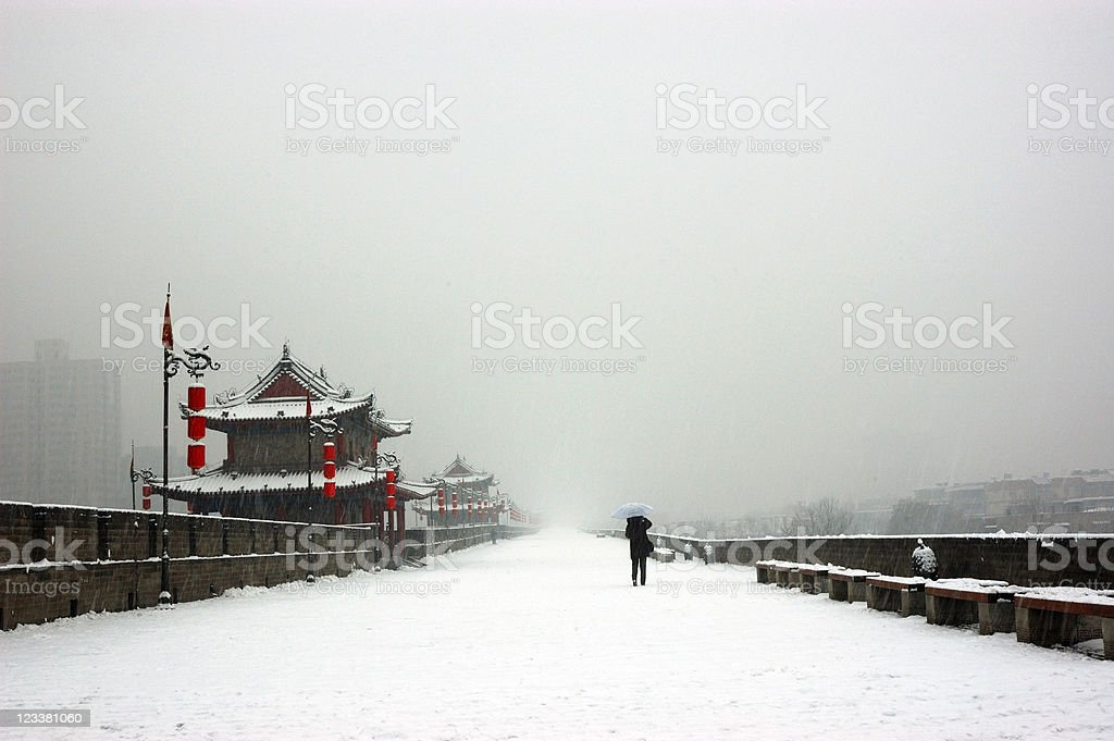 xi'an city wall in snow day royalty-free stock photo