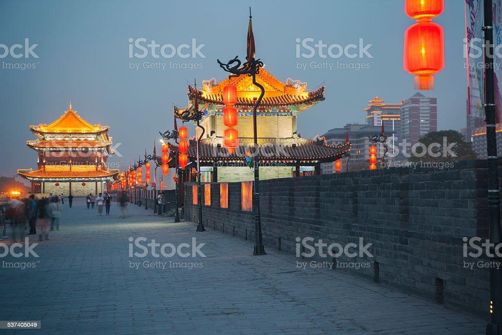 Xian city wall stock photo