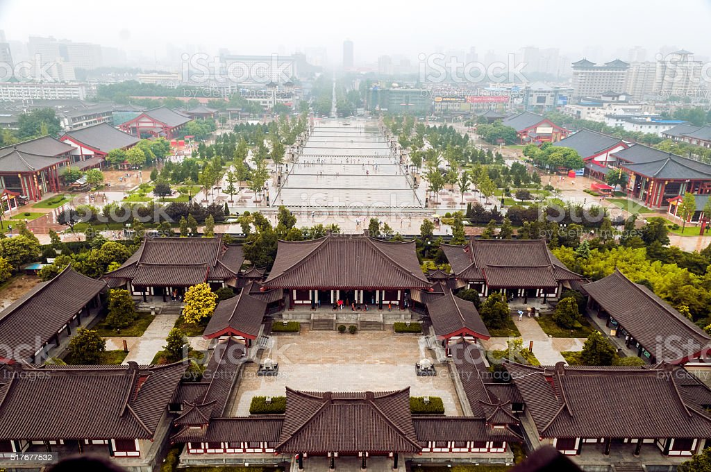 Xian from Giant Wild Goose Pagoda,  China stock photo