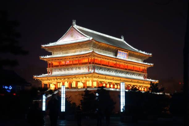 Xian Tower at Night stock photo