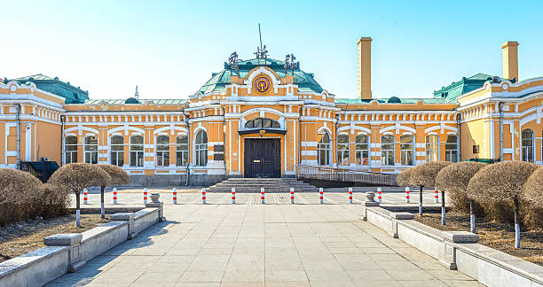 Xiangfang Railway Station Xiangfang Railway Station, built in 1898, traditional Russian architecture. It is a station of the Chinese Eastern Railway. Located in Xiangfang District of Harbin City, Heilongjiang Province, China. harbin stock pictures, royalty-free photos & images