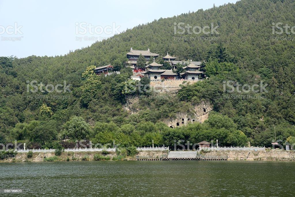 Xiangshan temple on the Yi river, Longmen Grottoes, Luoyang, Henan stock photo