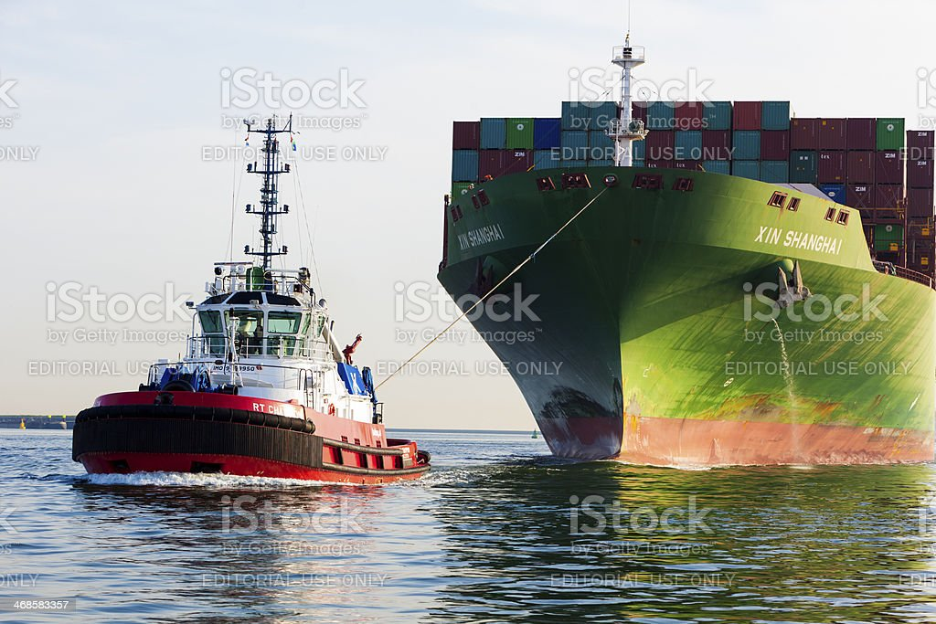 Xin Shanghai towed in to Rotterdam stock photo