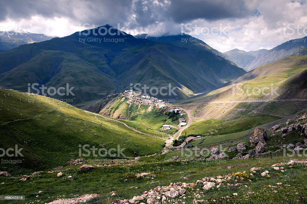 Xinaliq, a village in Azerbaijan, surrounded by mountains stock photo