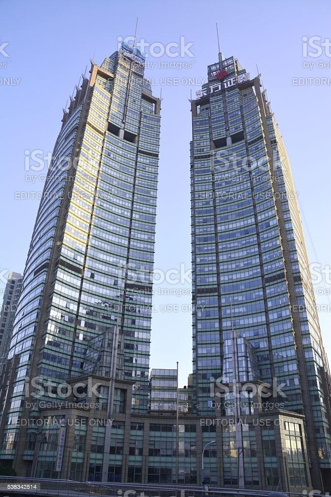 Xinyuan Square twin buildings, Shanghai stock photo
