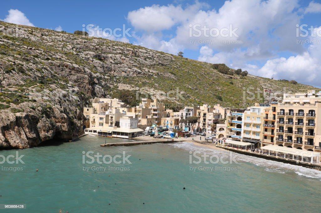 Xlendi Bay at Gozo Island of Malta at Mediterranean Sea - Royalty-free Bay of Water Stock Photo