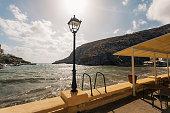 Xlendi Bay seaside terrace, Gozo Island, Malta