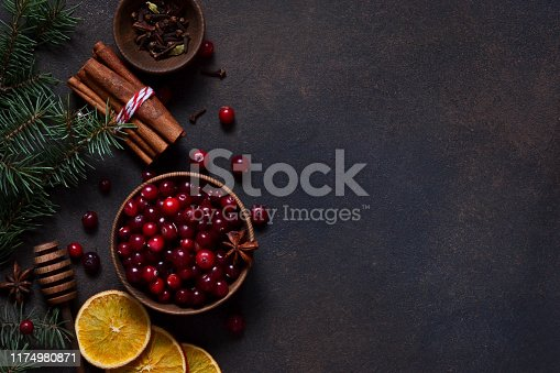 istock Xmas background. Ingredients for Christmas, winter baking cookies on a dark background . 1174980871