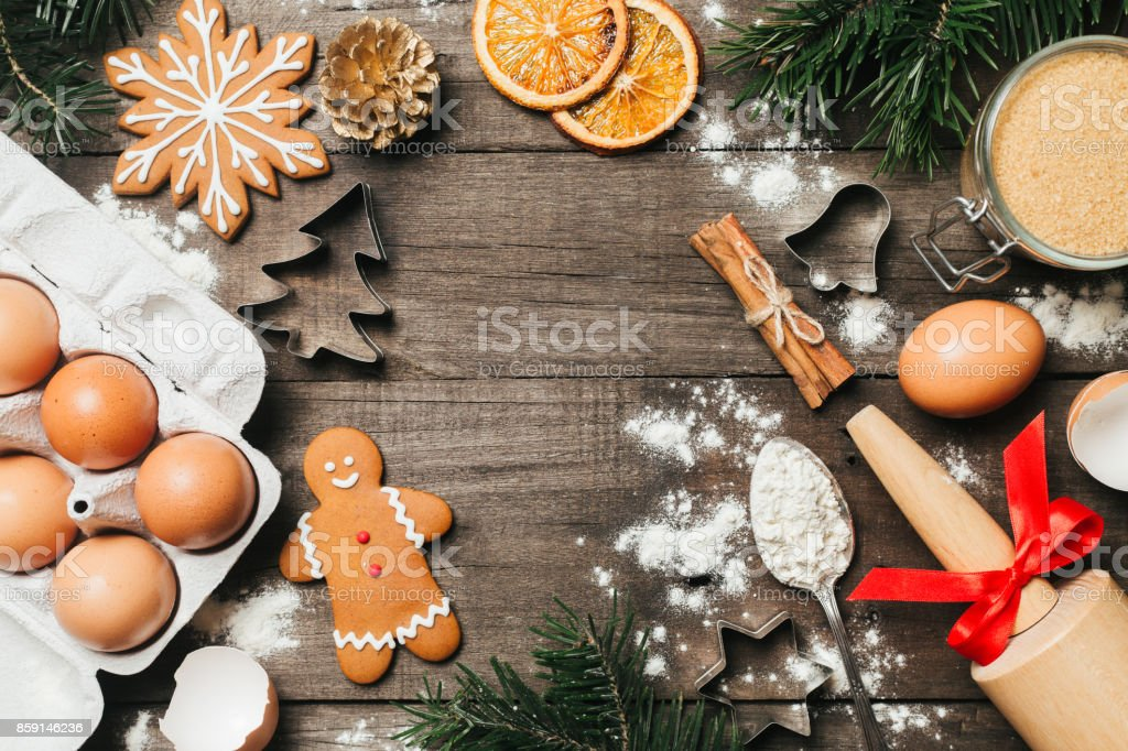Xmas Baking Or Cooking Background Text Space Top View Stock Photo