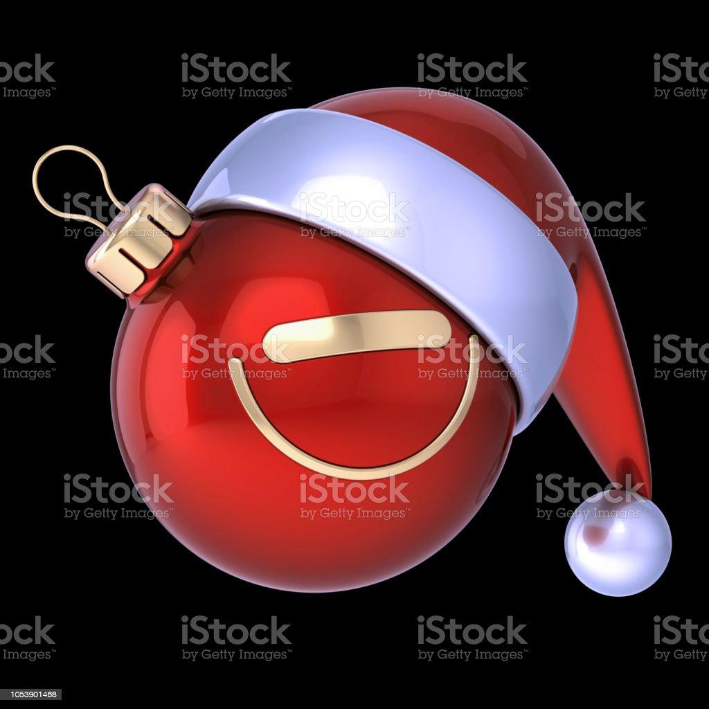 f7375e1a6a95e Xmas Christmas ball cartoon Santa Claus hat smiling avatar red - Stock  image .