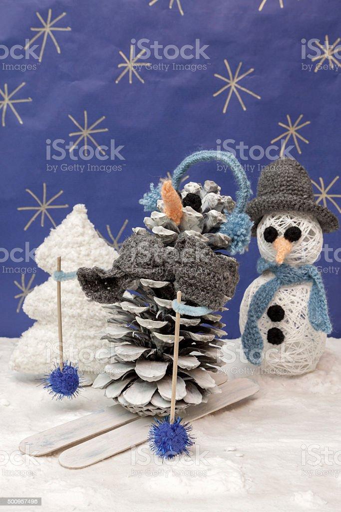 Decorazioni Artigianali Natalizie.Decorazioni Natalizie Artigianato Scenary Sciatore Pupazzo Di Neve