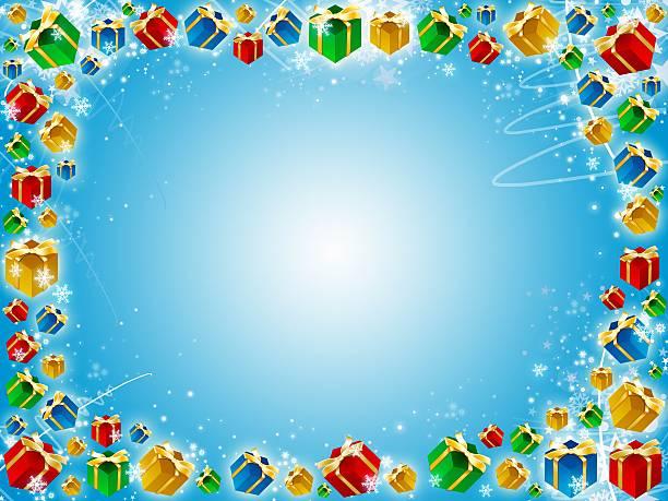 Świąteczne prezenty niebieskim tle z płatki śniegu – zdjęcie
