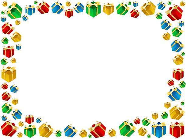 Świąteczne prezenty framework na białym tle – zdjęcie