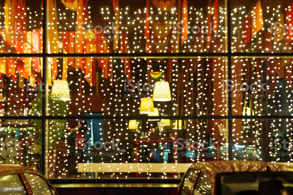 świąteczne Oświetlenie Restauracji Okno Zdjęcia Stockowe I