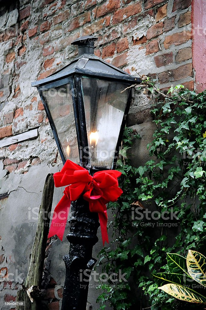 Xmas lamp in French Quarter New Orleans stock photo