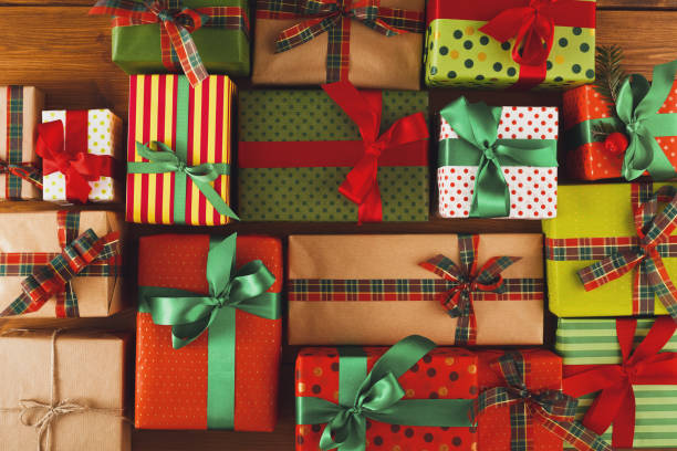 Xmas, new year and other holidays boxes. Crop, closeup - foto stock