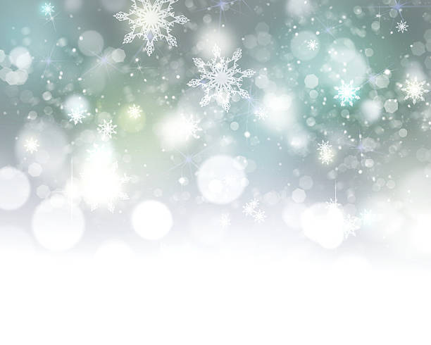 Xmas new year winter blurred lights illustration background. stock photo