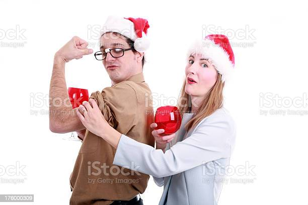 Xmas Office Party: Losening Up  Adult Stock Photo