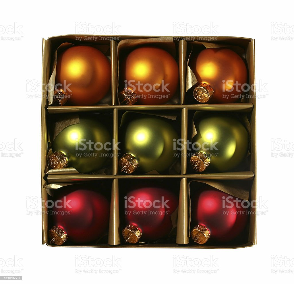 Xmas ornaments in a box with path royalty-free stock photo