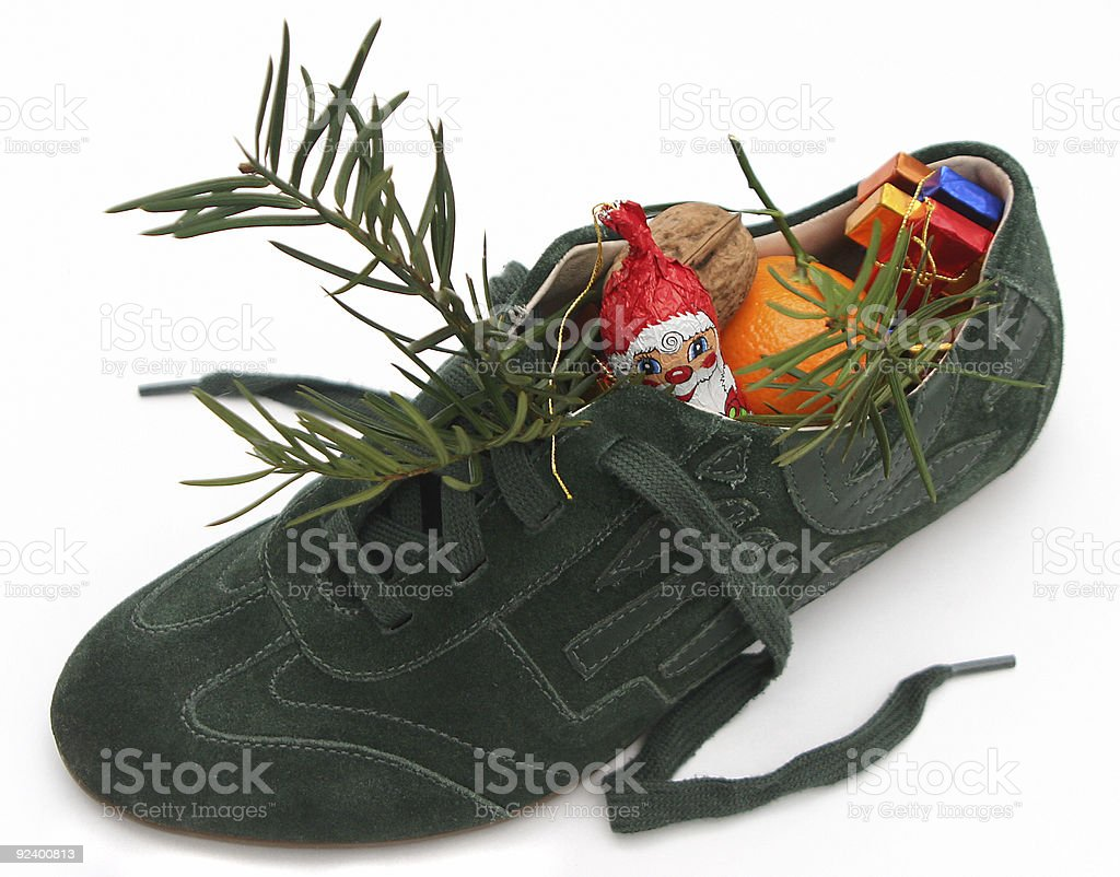 Xmas Shoe filled by Nicholas 1 stock photo