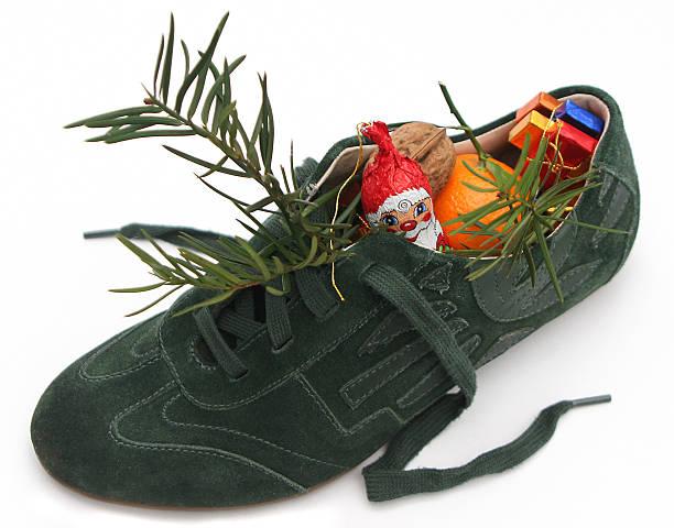 Xmas Shoe filled by Nicholas 1 stock photo