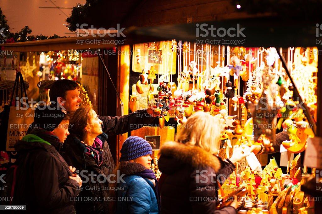 Xmas shopping on market in night stock photo