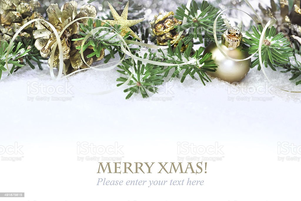 Xmas tree, decorated branches on snow stock photo