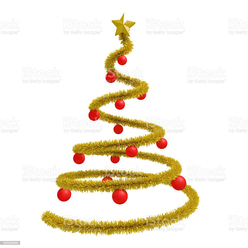 Xmas tree with red balls isolated stock photo