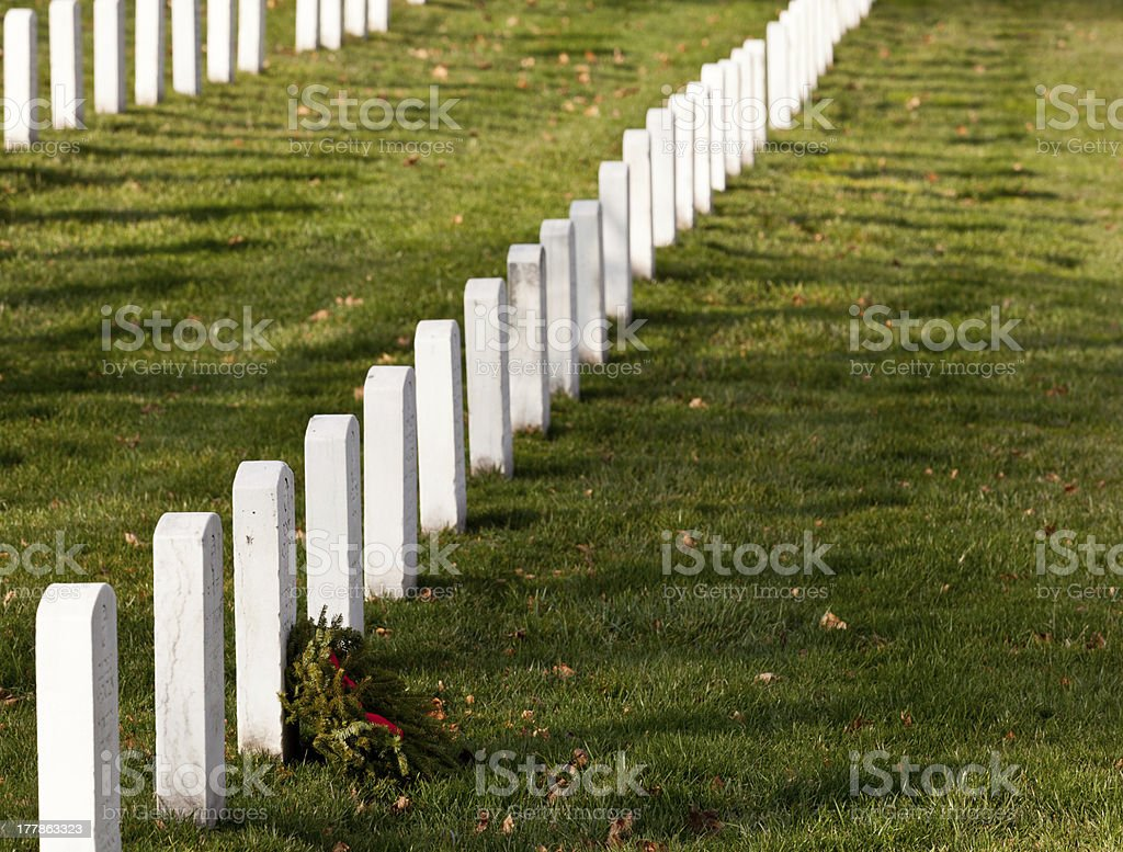 Xmas wreaths in Arlington Cemetery royalty-free stock photo
