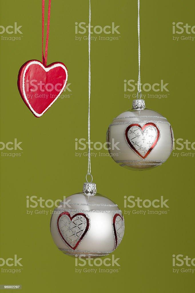 Xmasballs and Heart stock photo
