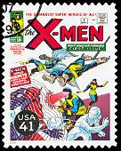 USA X-Men comic book cover postage stamp