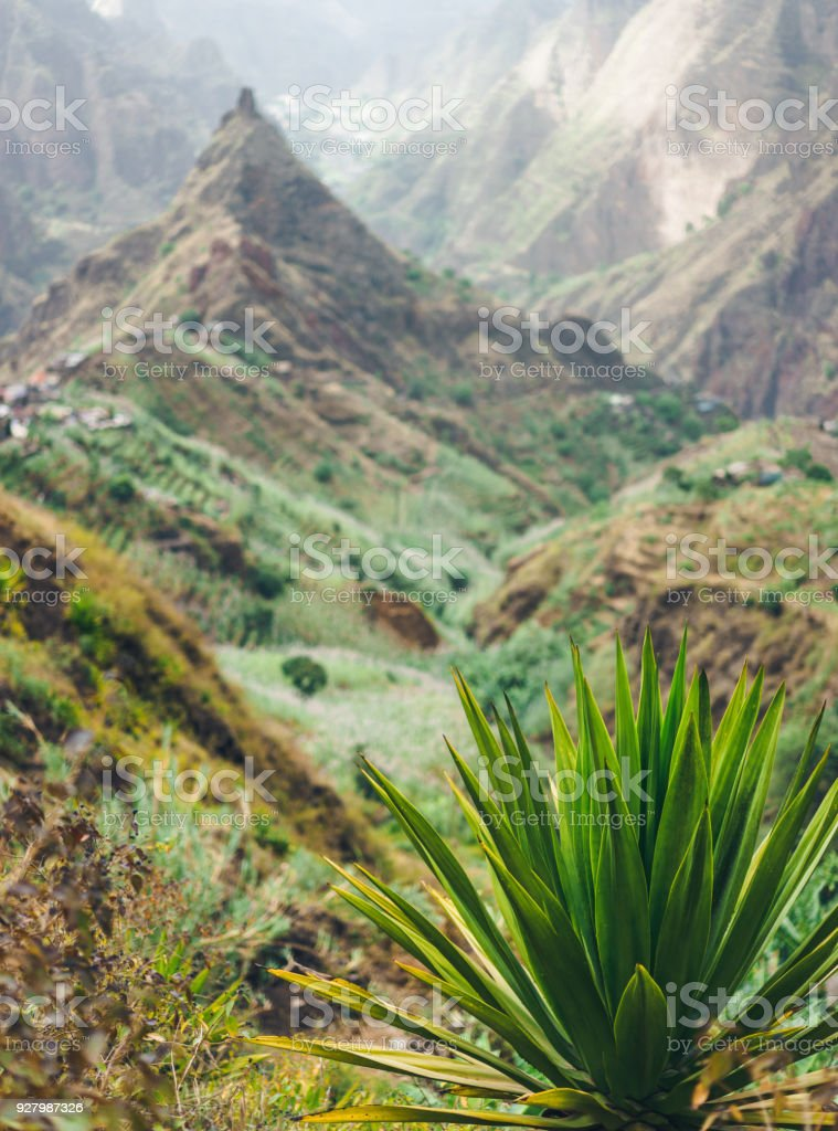 Xo-xo valley and Lombo de pico. Trakking route 202 over Rabo Curto to Ribeira da torre. Santo Antao island, Cape Verde stock photo
