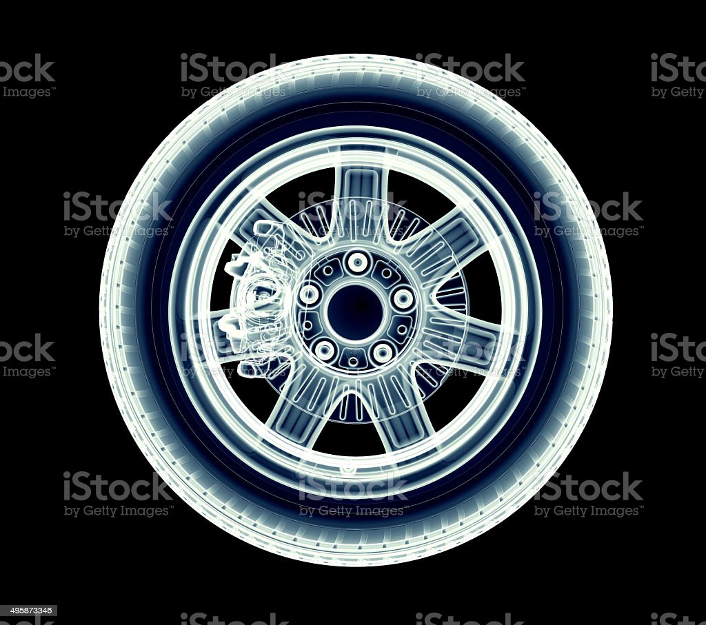 xray car wheel isolated on black stock photo