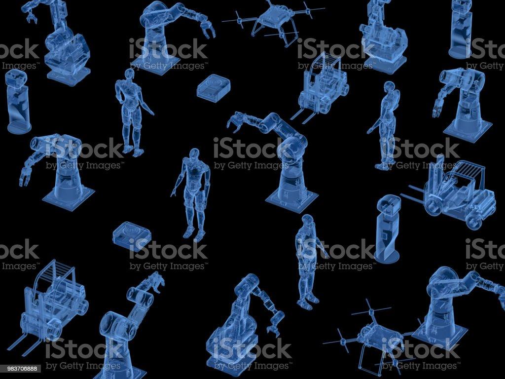 로봇 팔으로 x 선 사이보그 스톡 사진