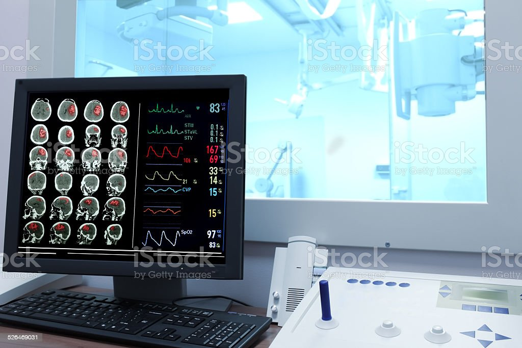 X-ray examination. Control office in CT stock photo