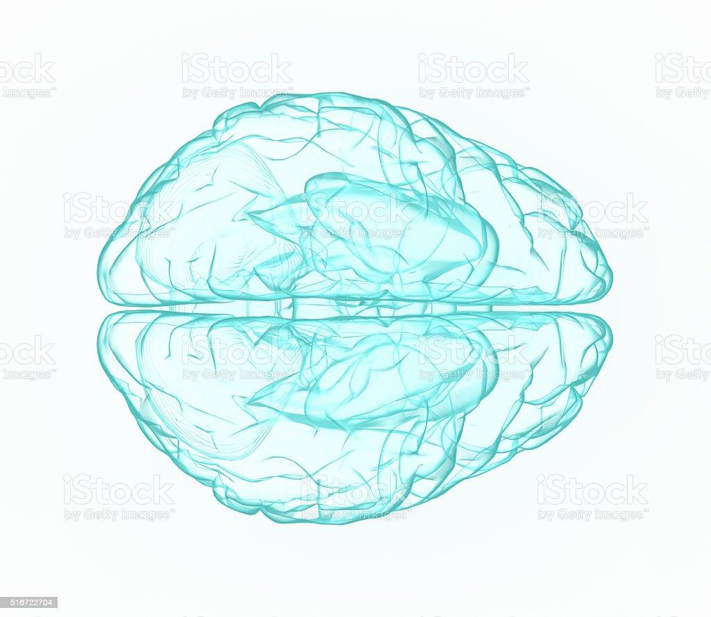 X-ray human brain in blue. stock photo