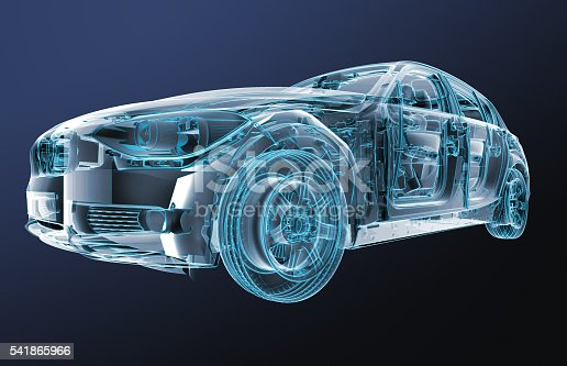 xray image of a car with test driver, 3d illustration