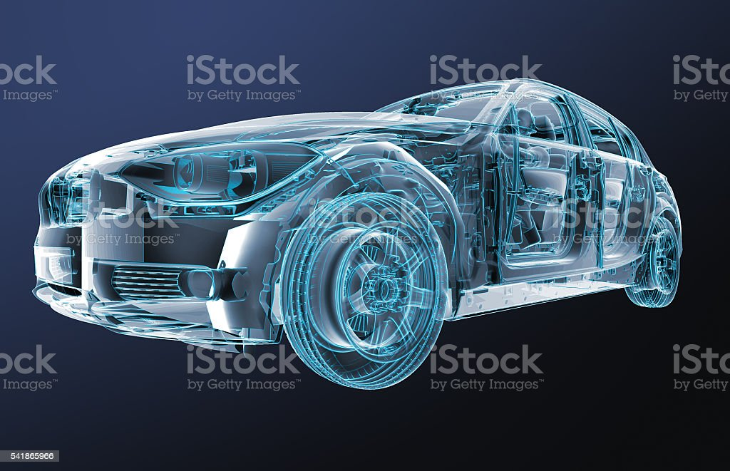 xray image of a car with test driver stock photo