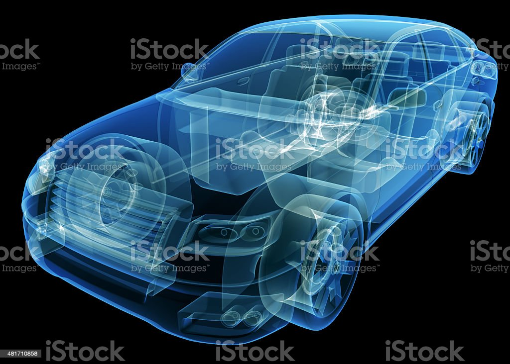 X-Ray Image of a Generic car stock photo