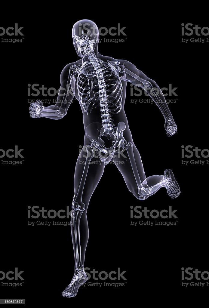 Xray Man Running - with clipping path royalty-free stock photo